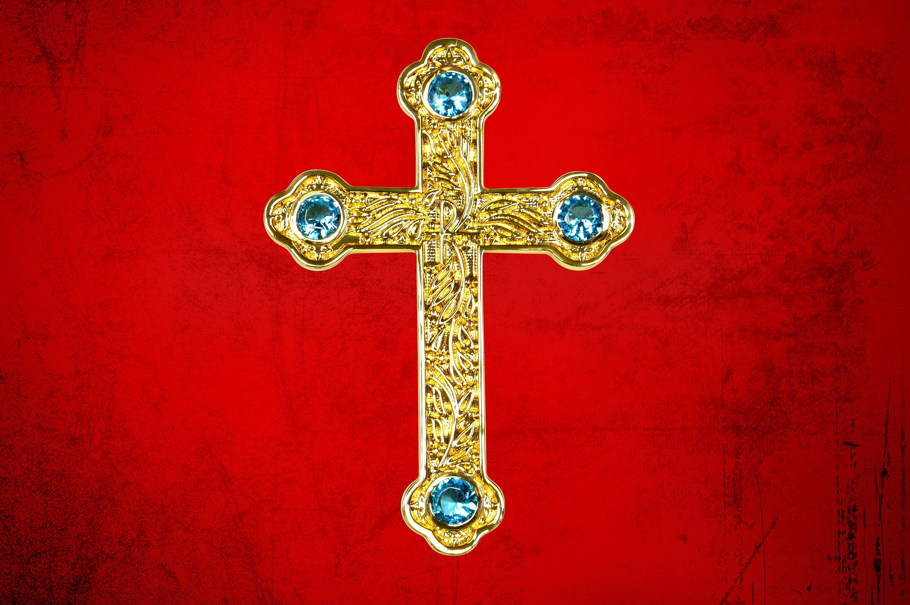 Premium Pectoral Cross Pendant & Chain Set with Blue
