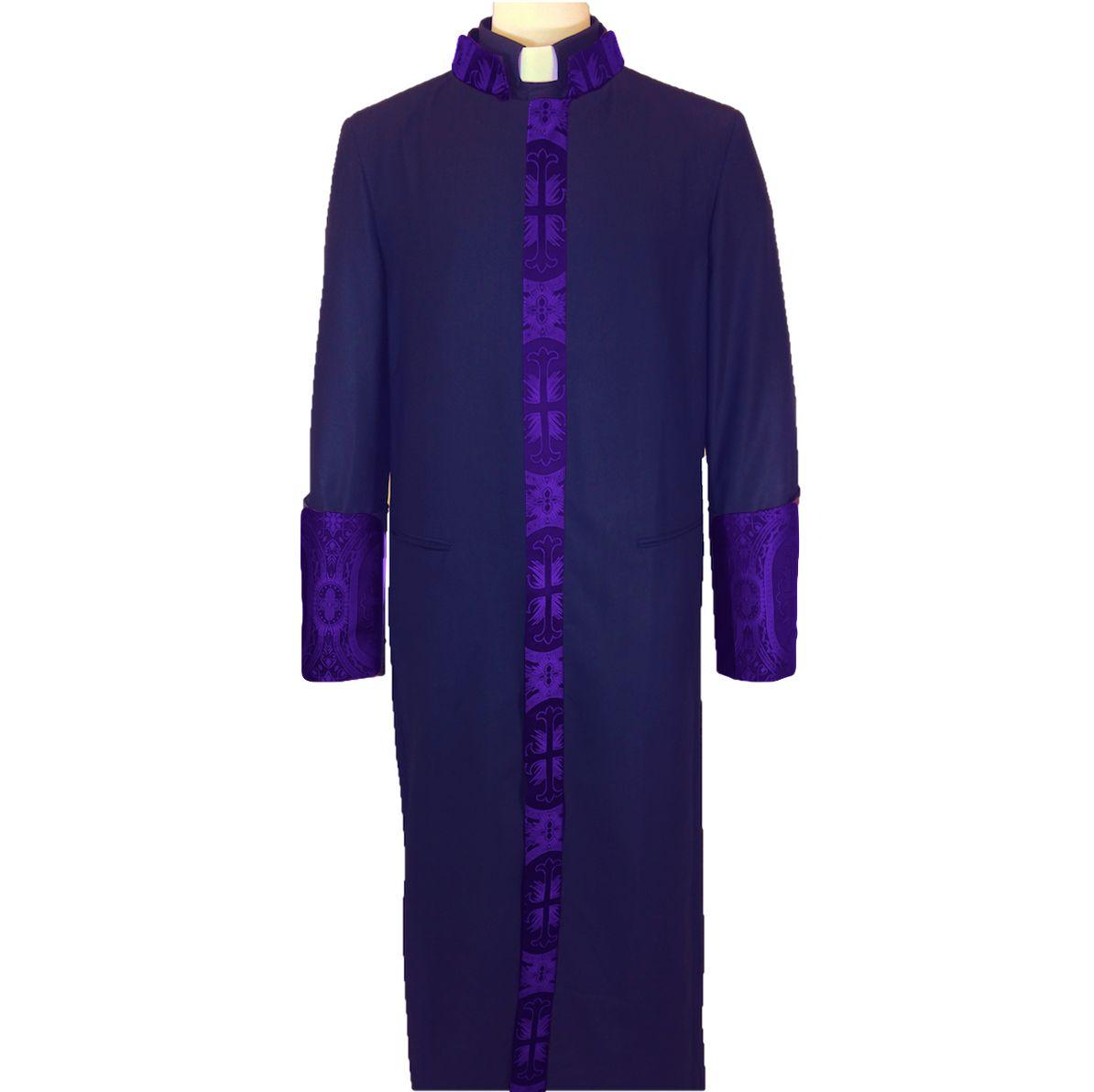 854 M. Men's Premium Pastor/Clergy Robe Black/Purple