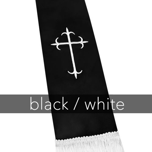 Clergy Stole - Black Satin with White Latin Crosses