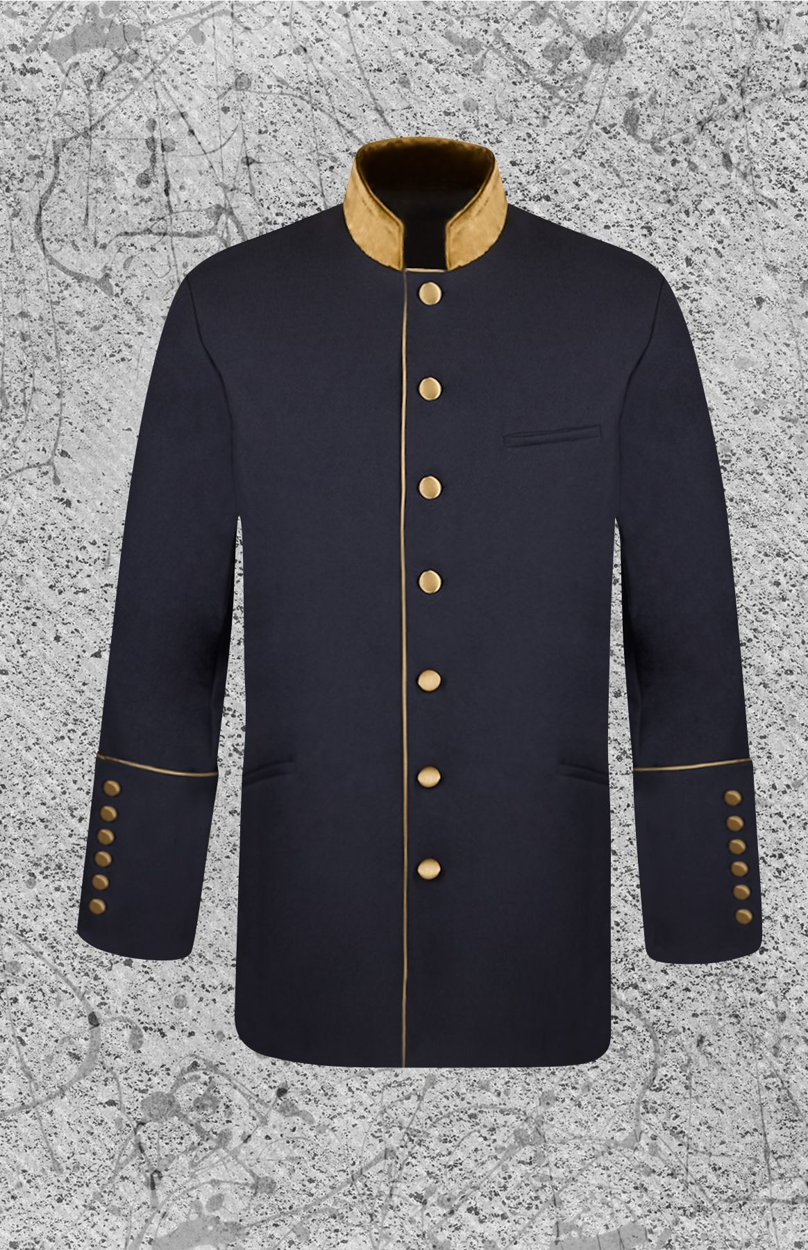 Men's Clergy Frock Jacket Black and Gold