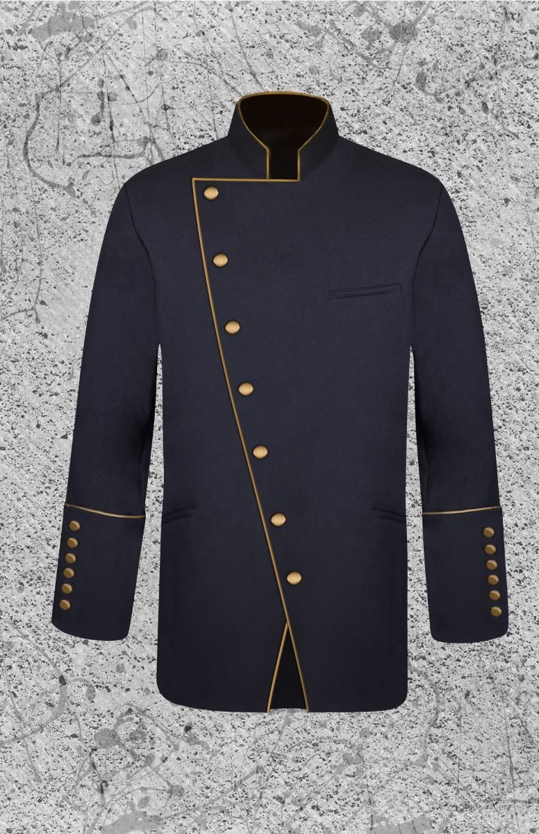 Men's Black and Gold Double Breast Clergy Jacket