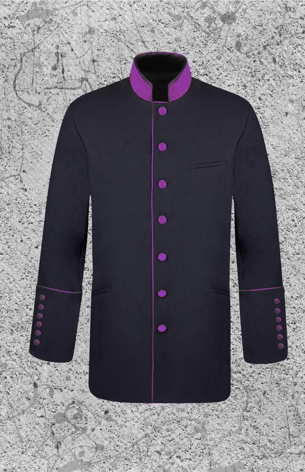 Men's Black and Purple Clergy Jacket