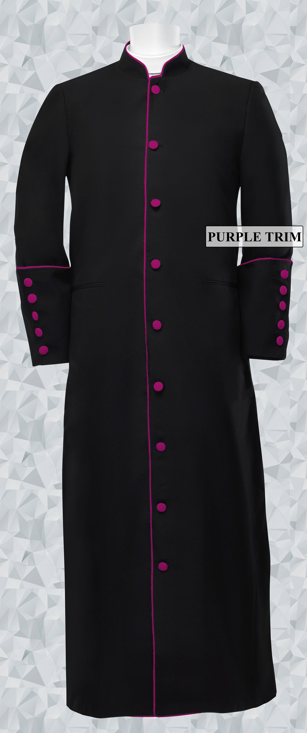 166 M. Men's Clergy/Pastor Robe Black/Medium Purple Trim
