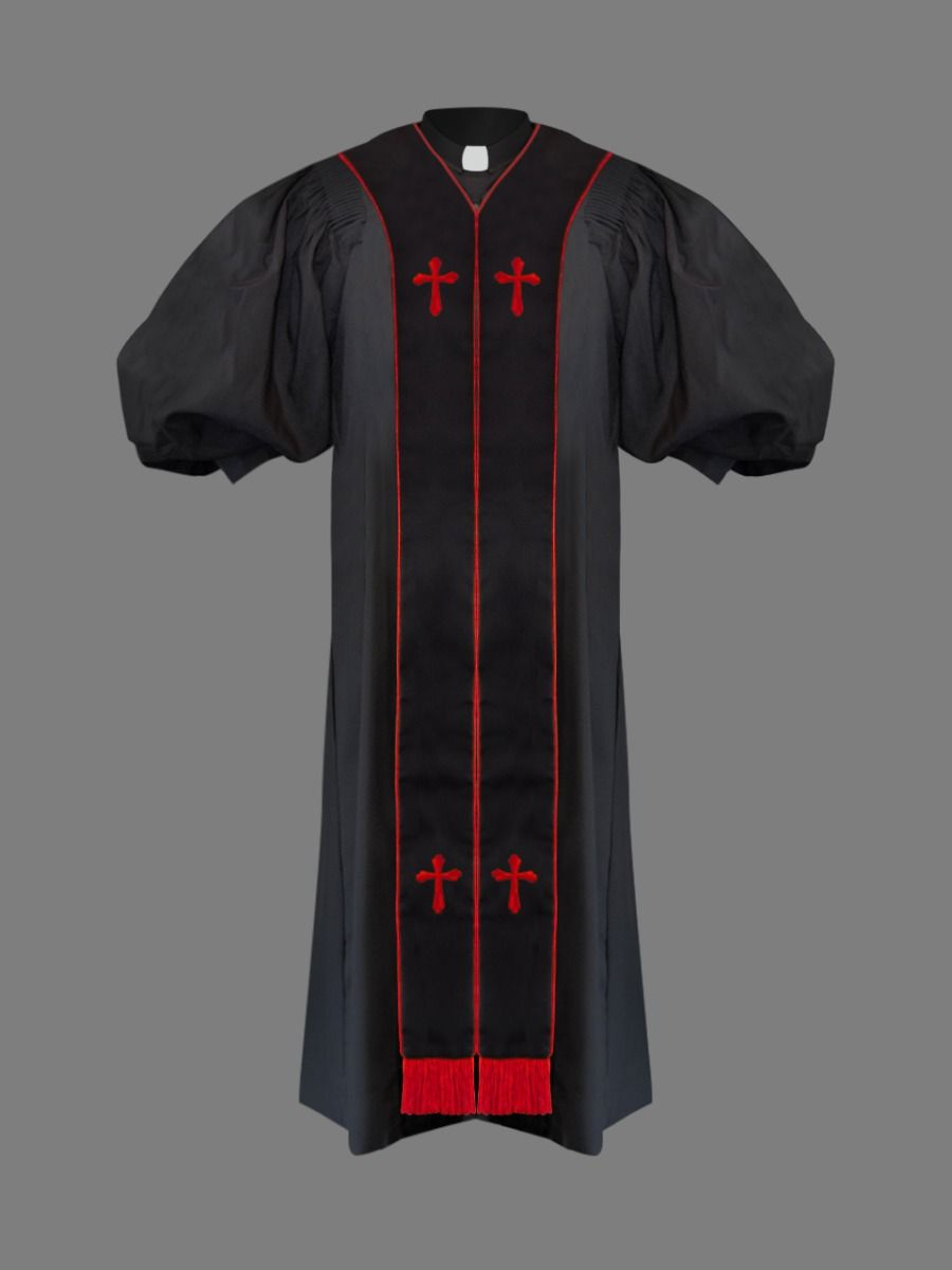 Clergy Pulpit Robe in Black & Red