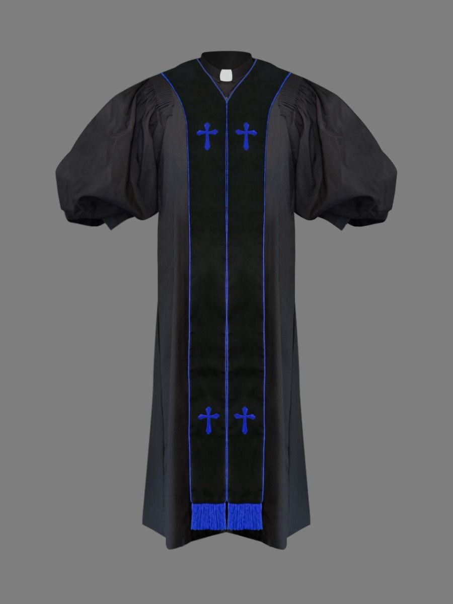 Clergy Pulpit Robe Black with Free Black/Royal Stole