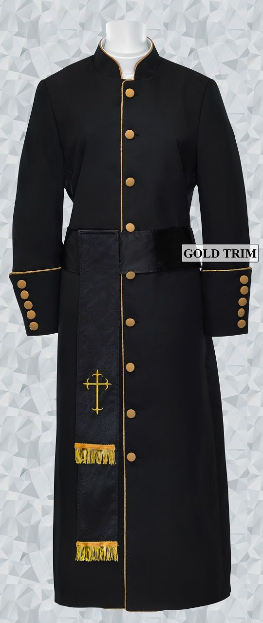 179 W. Women's Pastor/Clergy Robe - Black/Gold Cincture Set