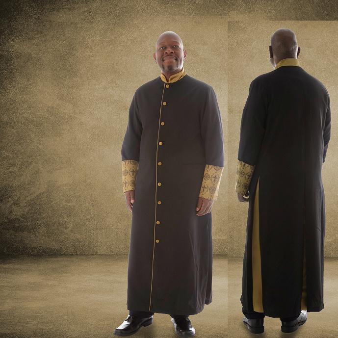 811 M. Men's Premium Pastor/Clergy Robe - Black/Gold with Fancy Pleats