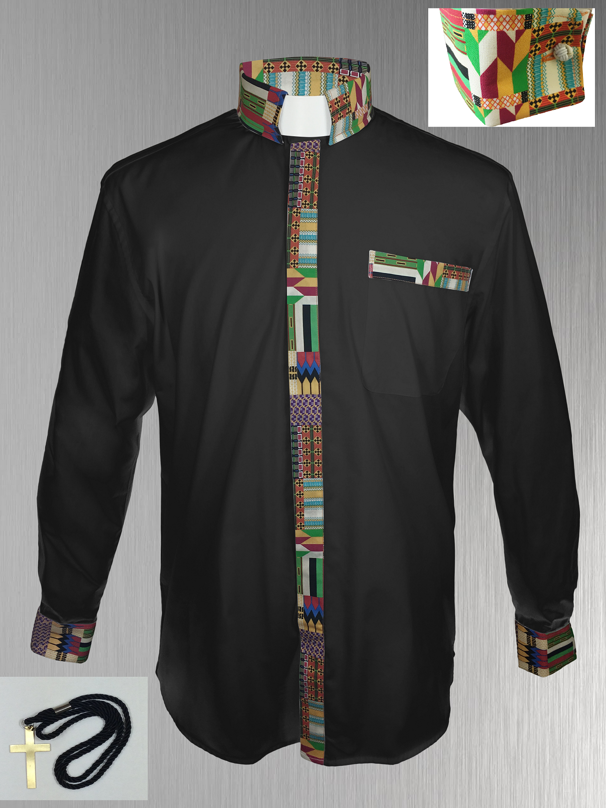 146. Custom Edition Kwangali Cloth Men's Tab Collar Clergy Shirt Set - Black