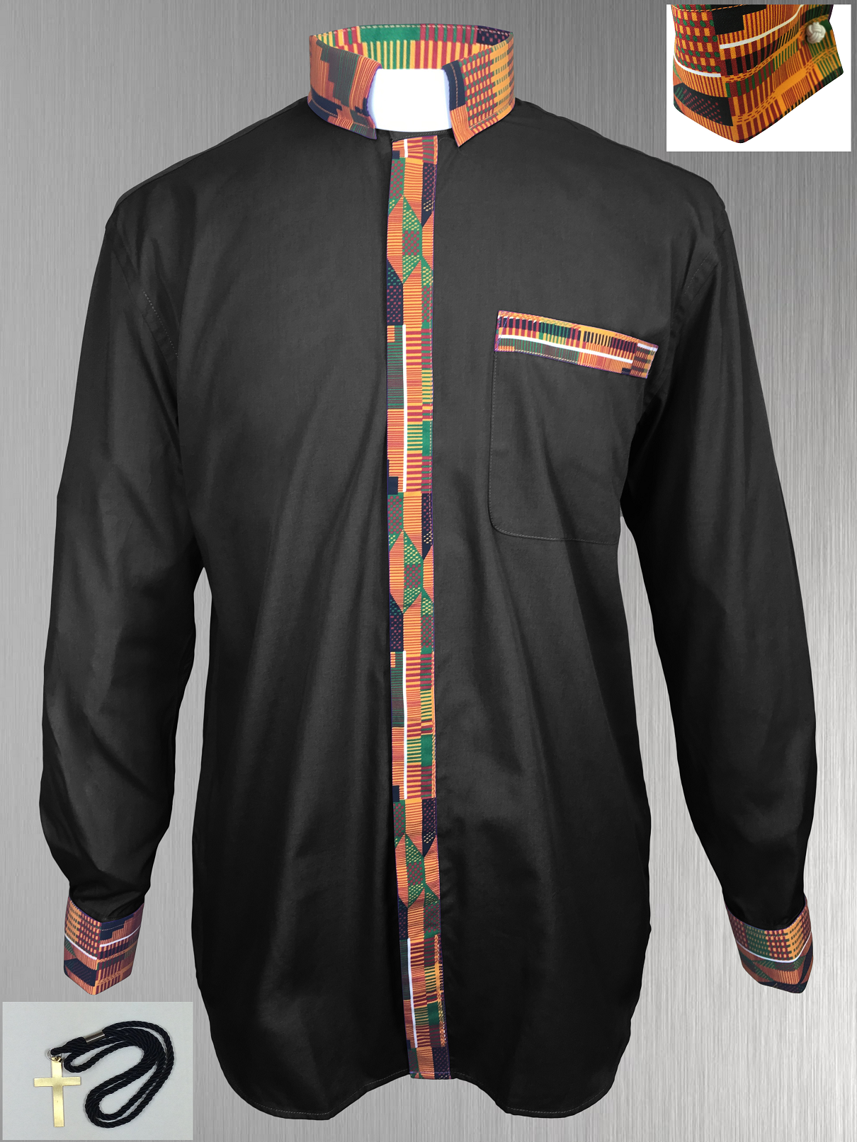 Black Clergy Shirt with Kente Cloth Fabric