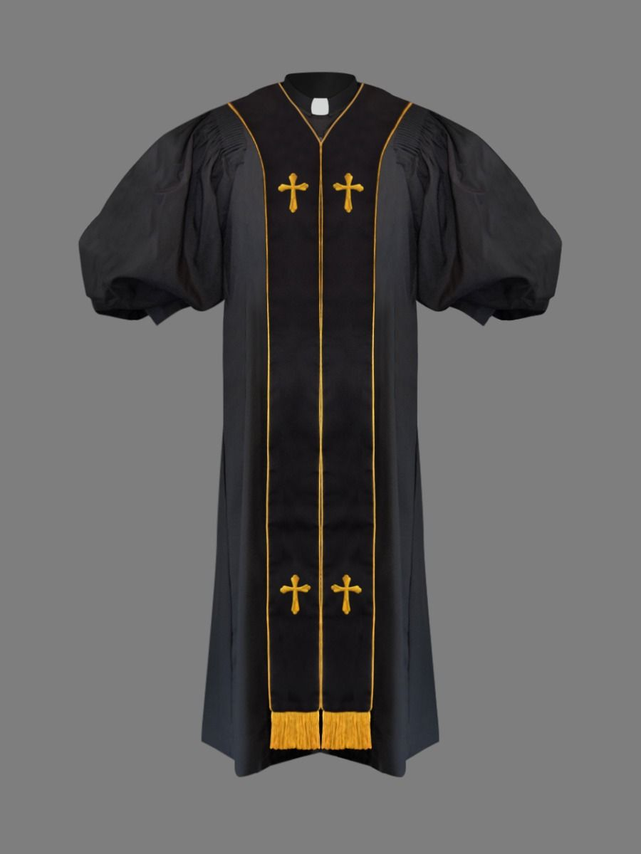 Clergy Pulpit Robe in Black and Gold