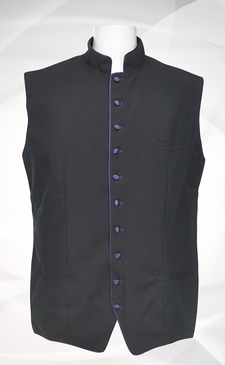 Men's Classic Clergy Vest - Black/Purple