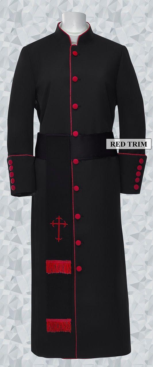 181 W. Women's Pastor/Clergy Robe - Black/Red Cincture Set