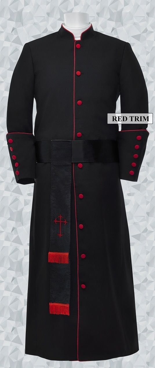 181 M. Men's Pastor/Clergy Robe - Black/Red Matching Cincture Set