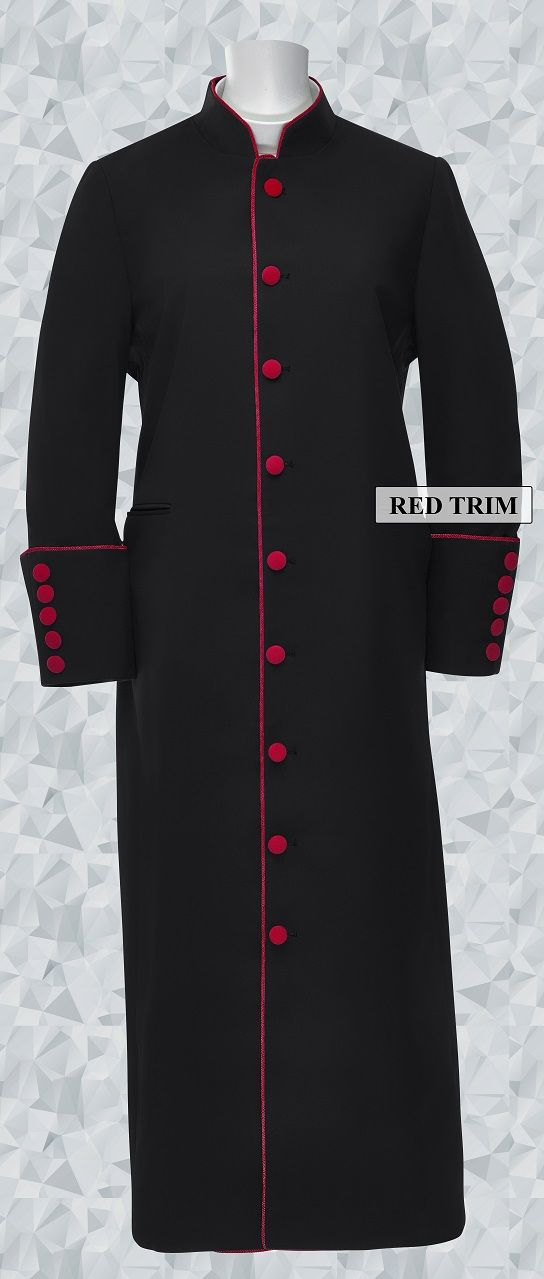153 W. Women's Clergy/Pastor Robe Black/Red Trim