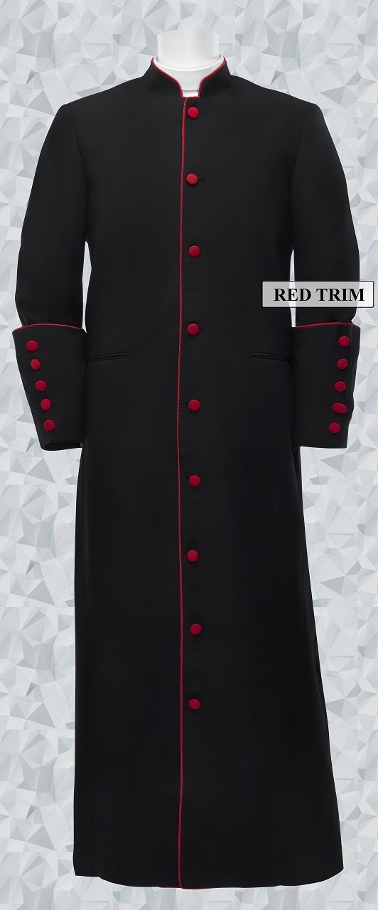 153 M. Men's Clergy/Pastor Robe Black/Red Trim