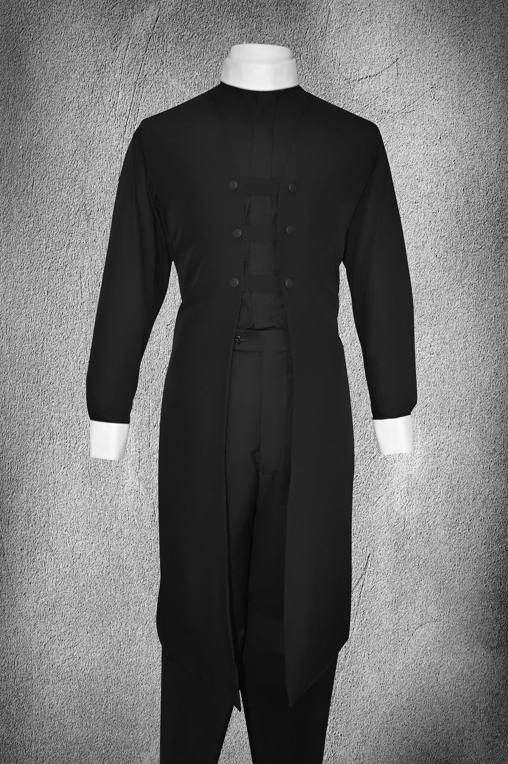 Ministerial Full Collar Vesture Set Black/Black (White Cuffs)
