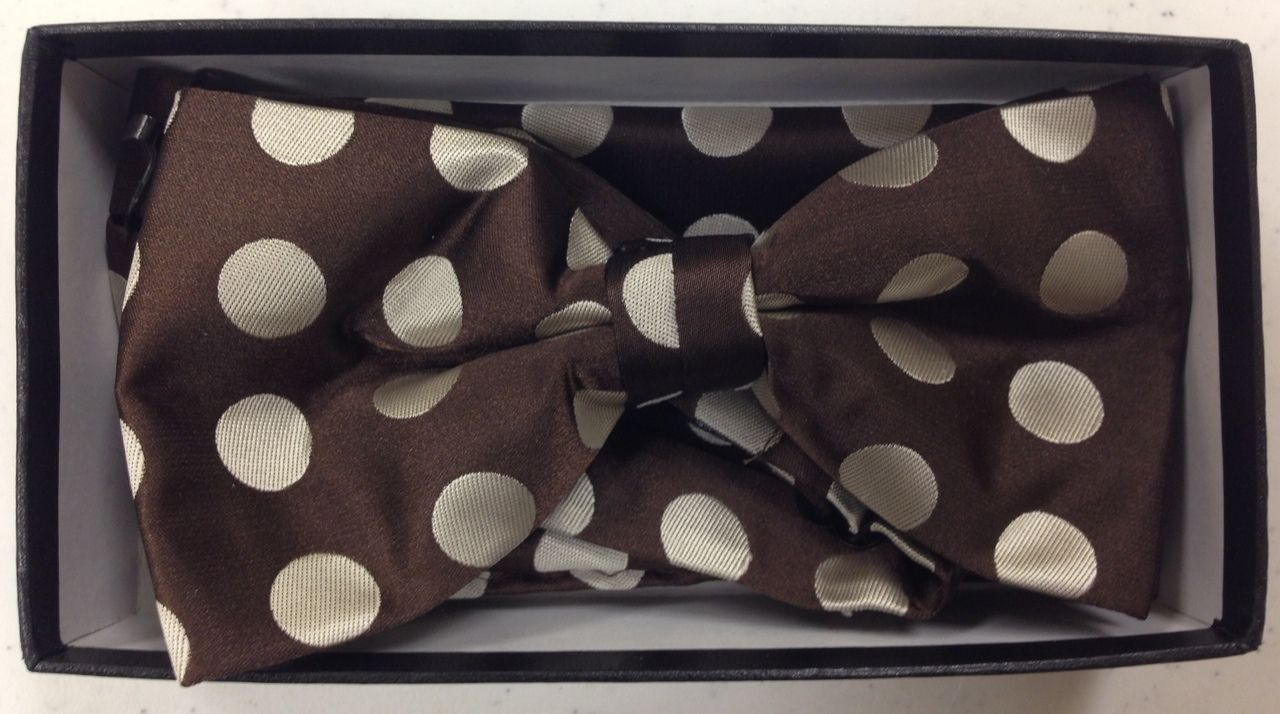 Men's Supreme© Polka Dot Bow Tie + Hanky - Brown & Beige