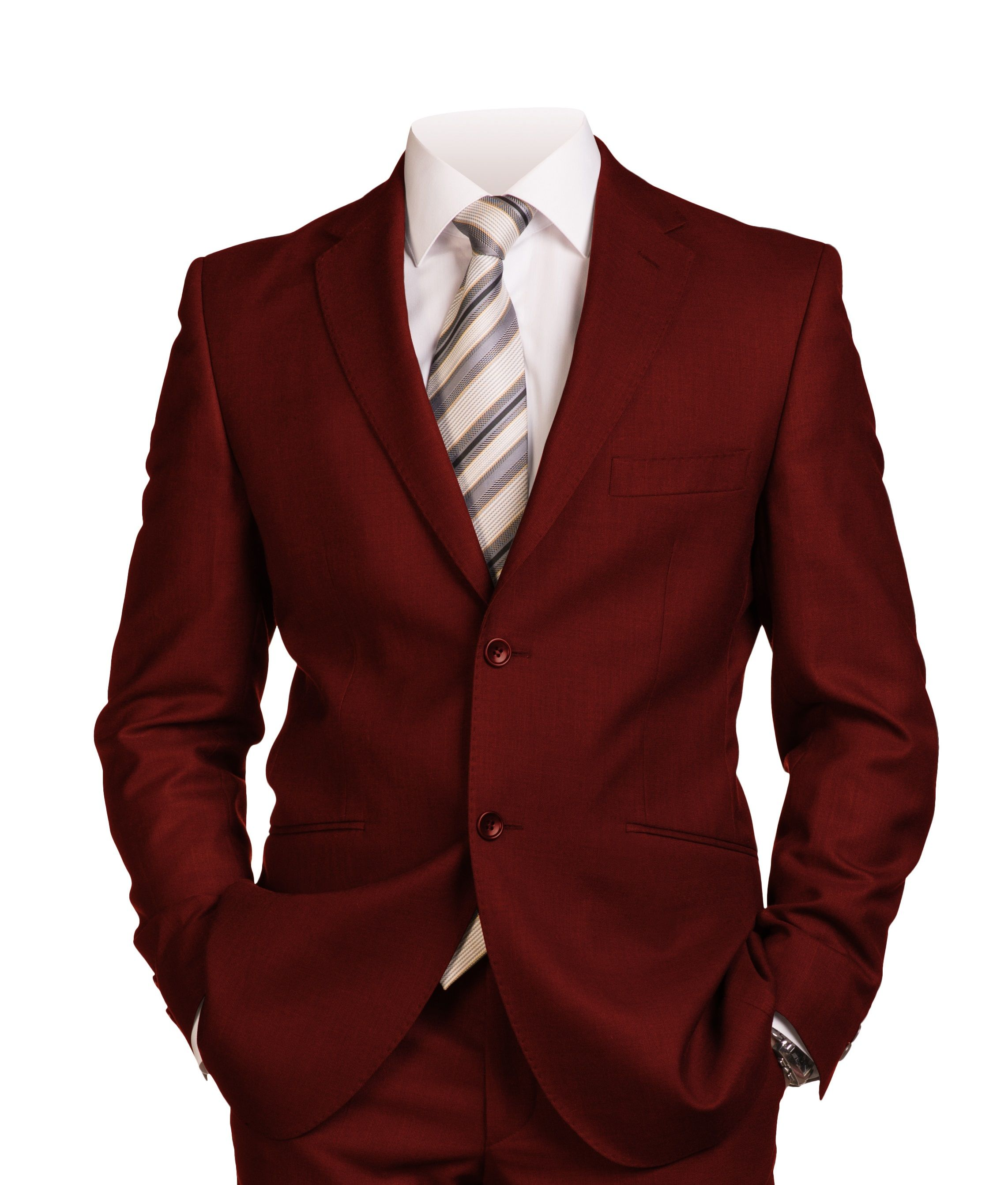 Men's Italian-Style Single-Breasted Suit - Burgundy *BOGO FREE Sale*