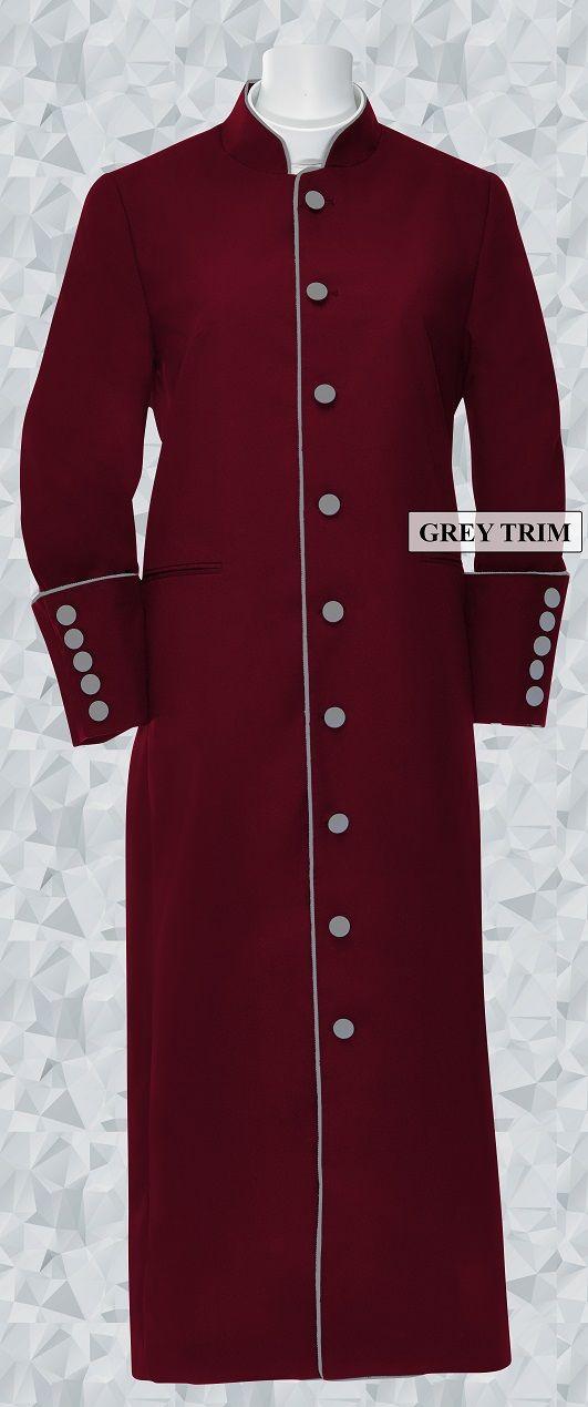 159 W. Women's Clergy/Pastor Robe - Burgundy/Grey Trim