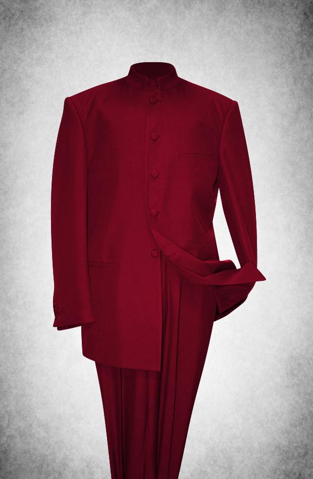 SU103. Premium Style Clergy Suit - Burgundy