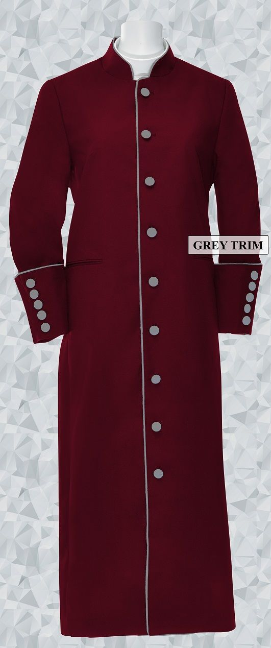159 W. Women's Clergy/Pastor Robe - Burgundy/Grey Trim