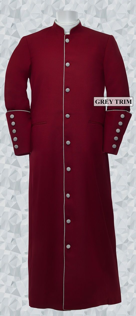 159 M. Men's Clergy/Pastor Robe - Burgundy/Grey Trim