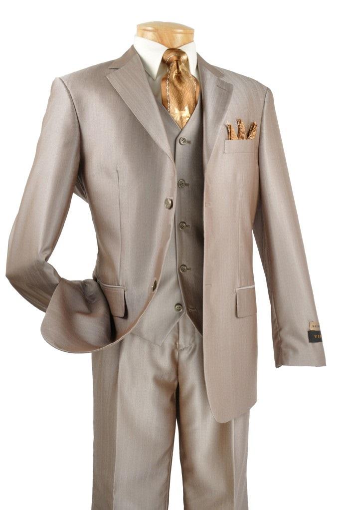 Men's Premium Sharkskin 3 Pc. Suit - Champagne