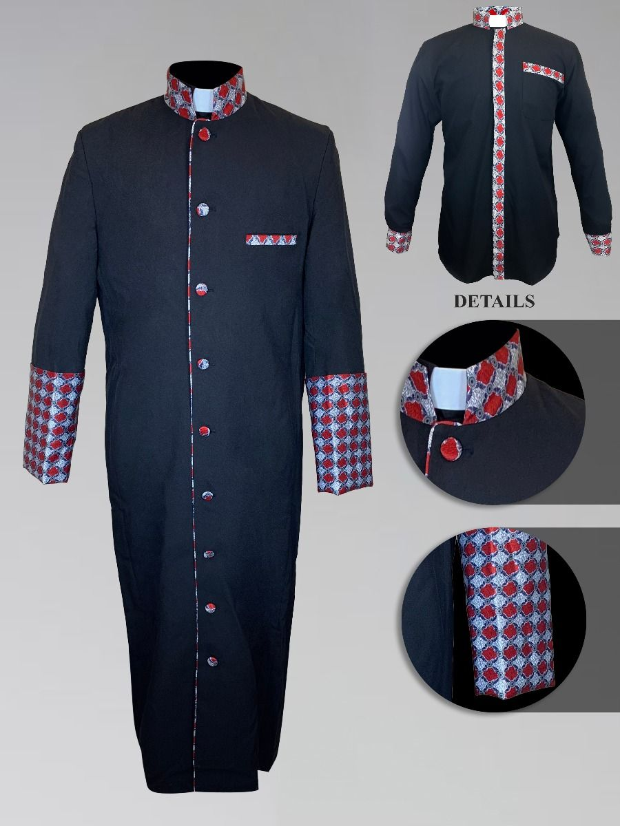 Men's Custom Fabric Clergy Robe - Black with Argyle Fabric