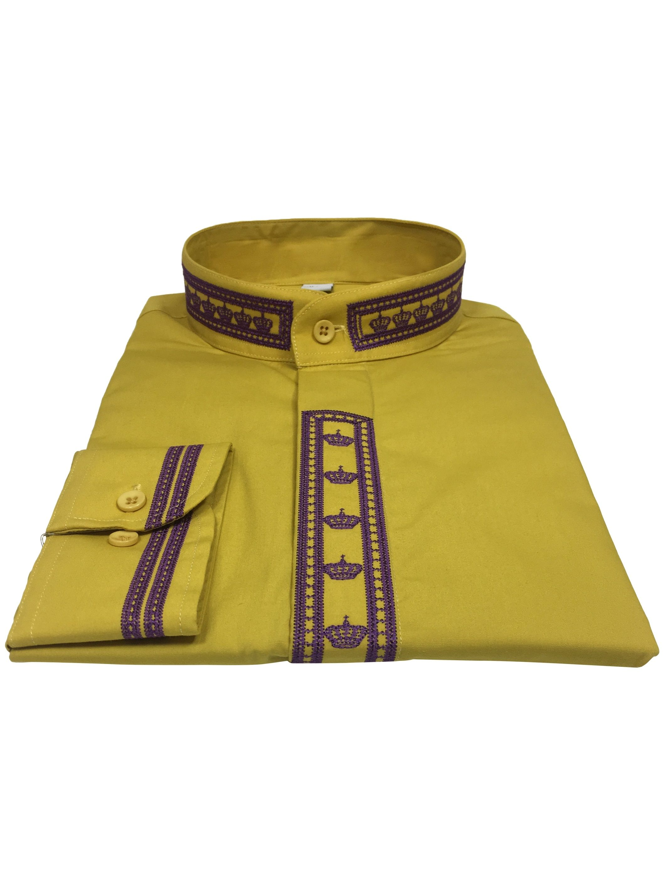 349. Men's Clergy Shirt With Rejoice Crown Fine Embroidery Long Sleeves- Gold/Purple