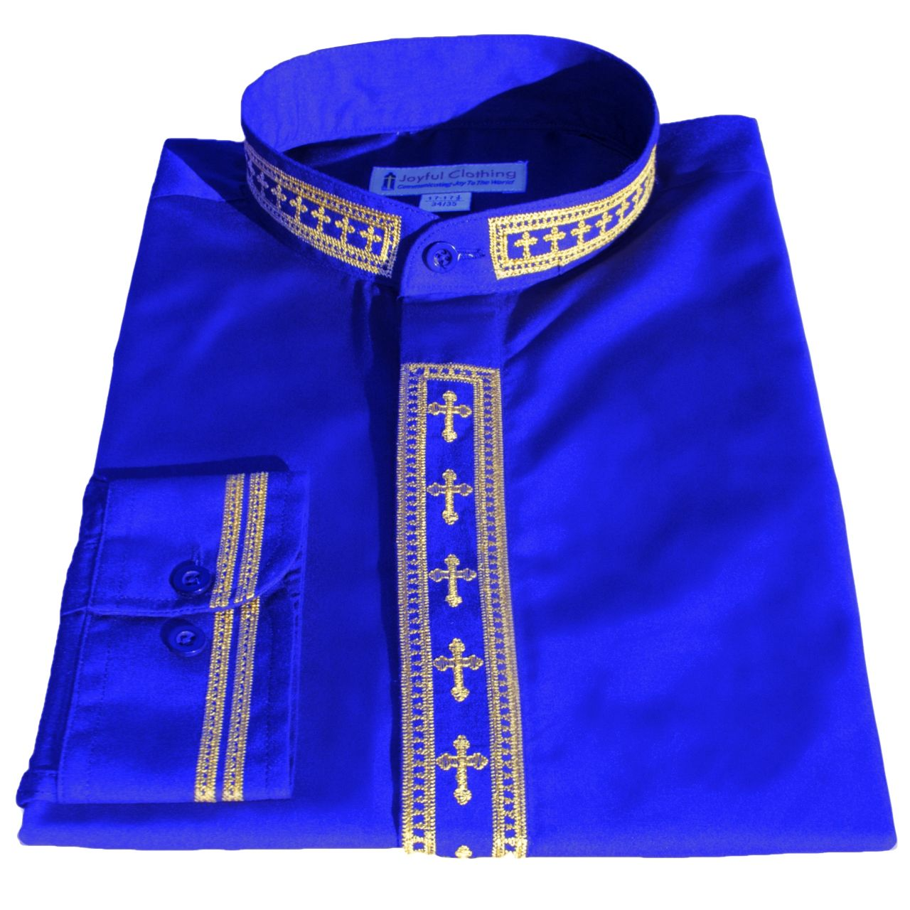 318. Men's Long-Sleeve Clergy Shirt With Fine Embroidery - Royal/Gold