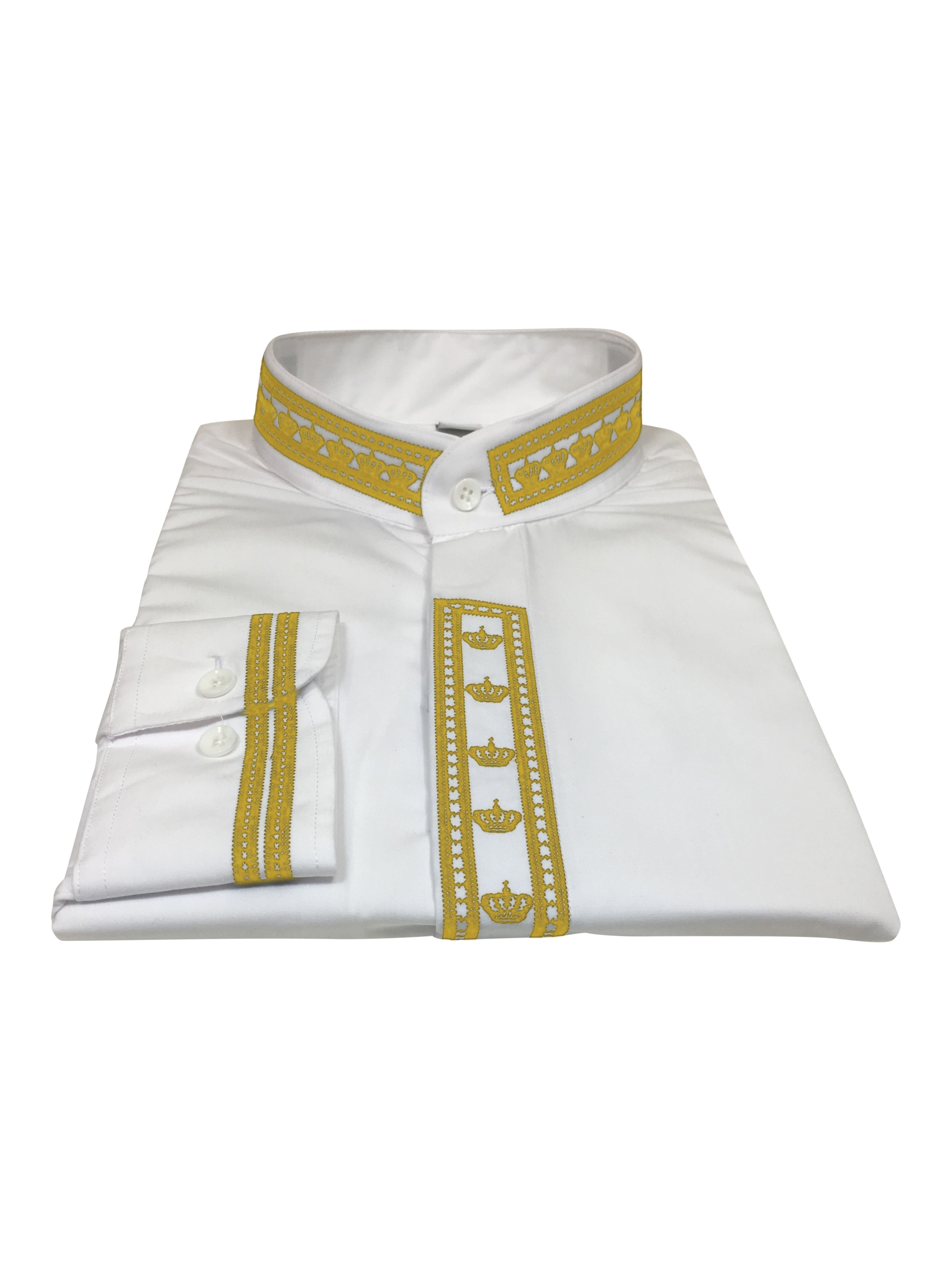 343. Men's Clergy Shirt With Rejoice Crown Fine Embroidery Long Sleeves- White/Gold