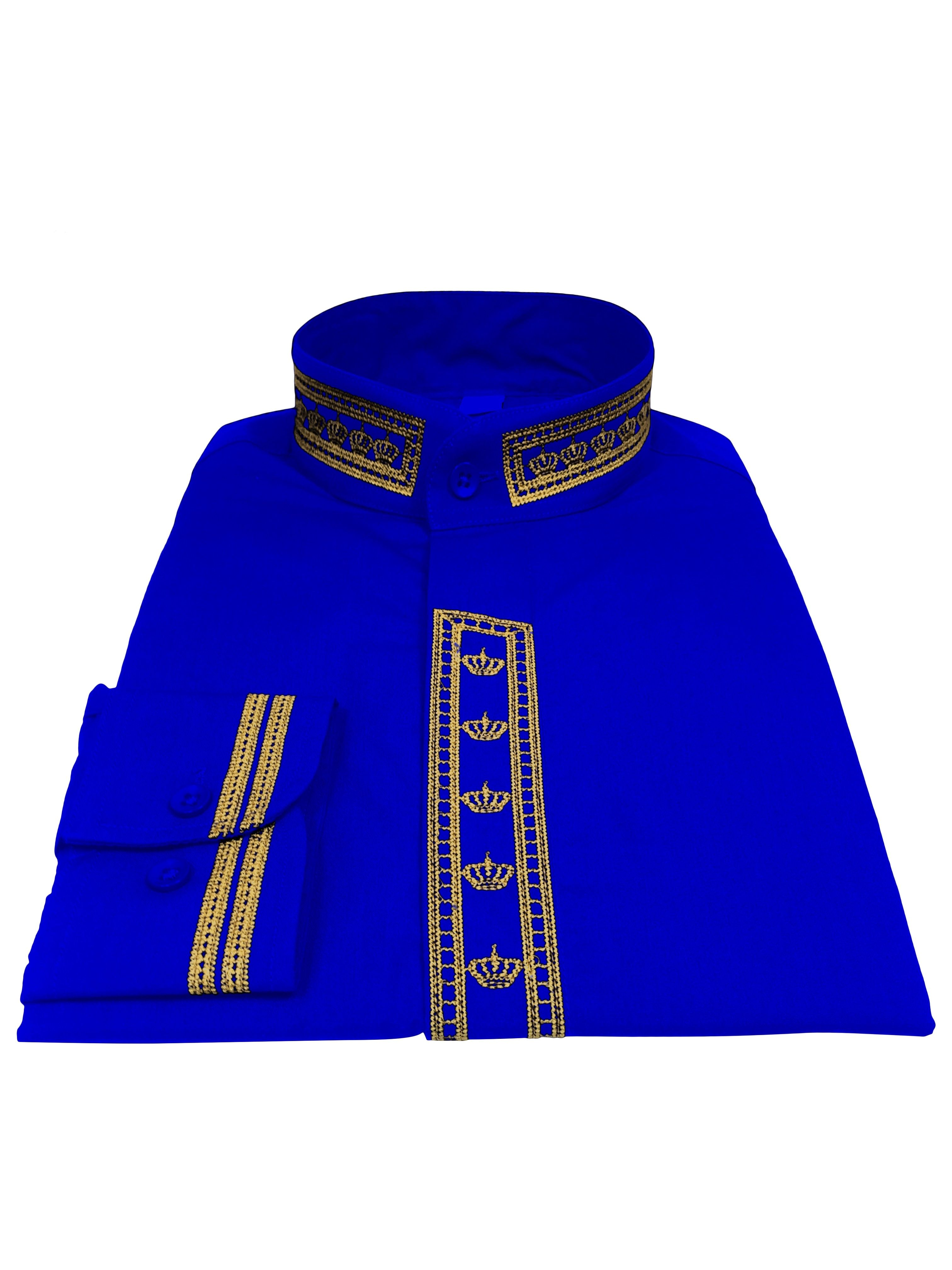 347. Men's Clergy Shirt With Rejoice Crown Fine Embroidery Long Sleeves- Royal/Gold