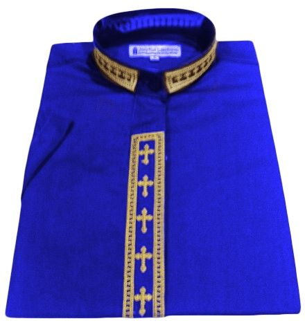 768. Women's Short-Sleeve Clergy Shirt With Fine Embroidery - Royal/Gold