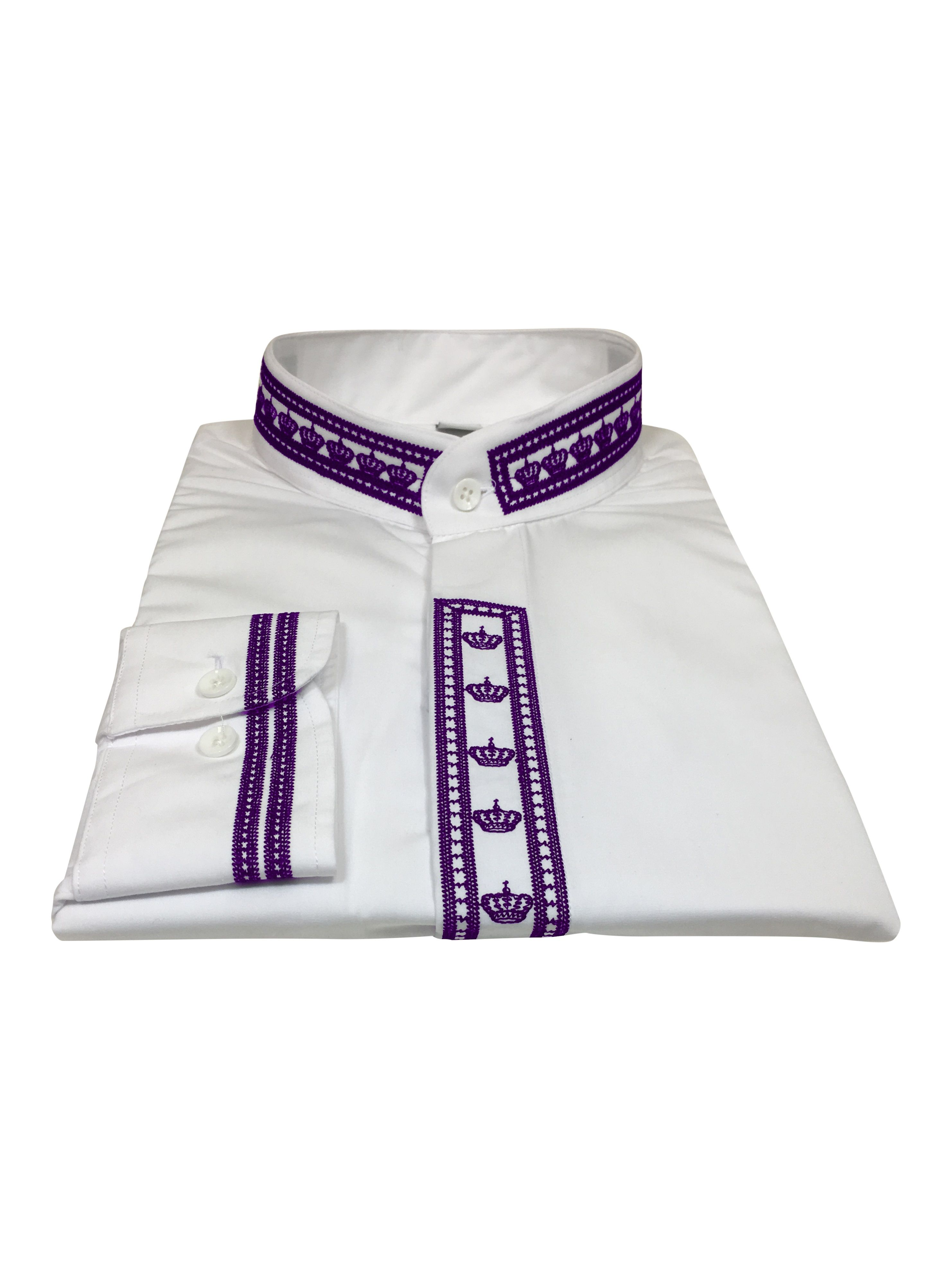 345. Men's Clergy Shirt With Rejoice Crown Fine Embroidery Long Sleeves- White/Purple