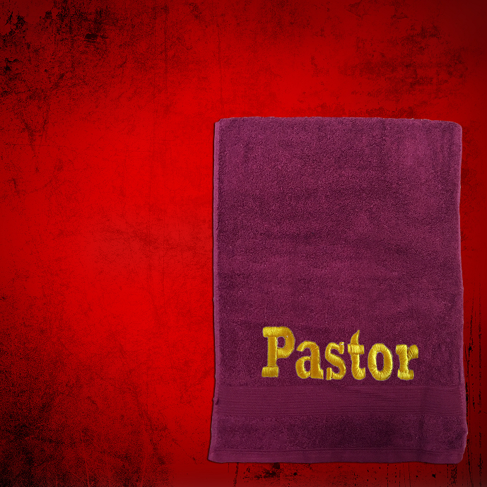 Shoulder Clergy Towel (Mini) in Burgundy with Gold Pastor