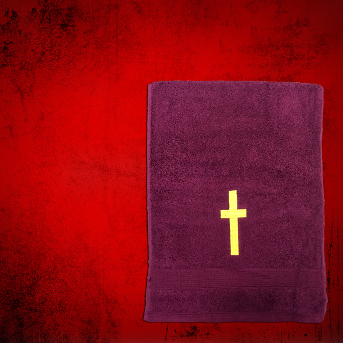 Shoulder Clergy Towel (Mini) in Burgundy with Gold Cross