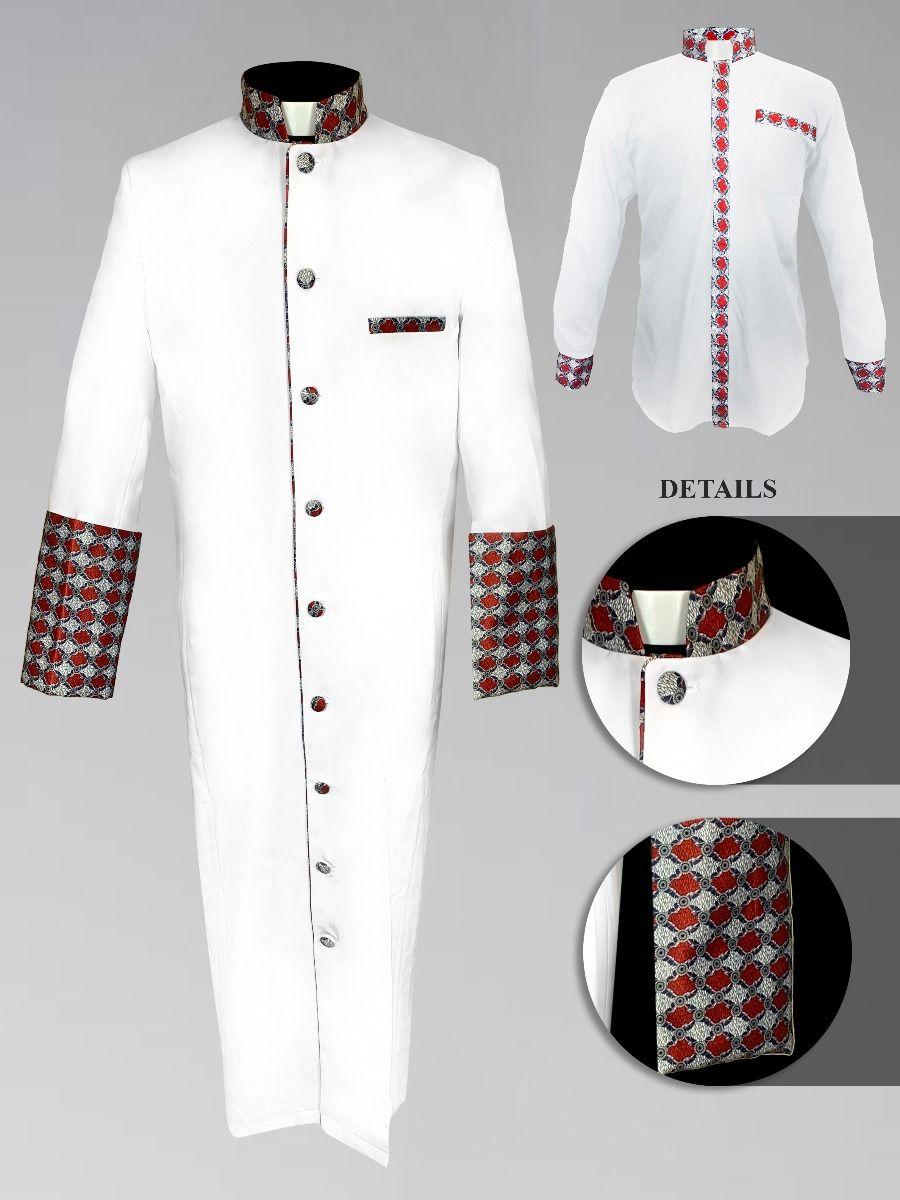 Men's Custom Fabric Clergy Robe - White with Argyle Fabric
