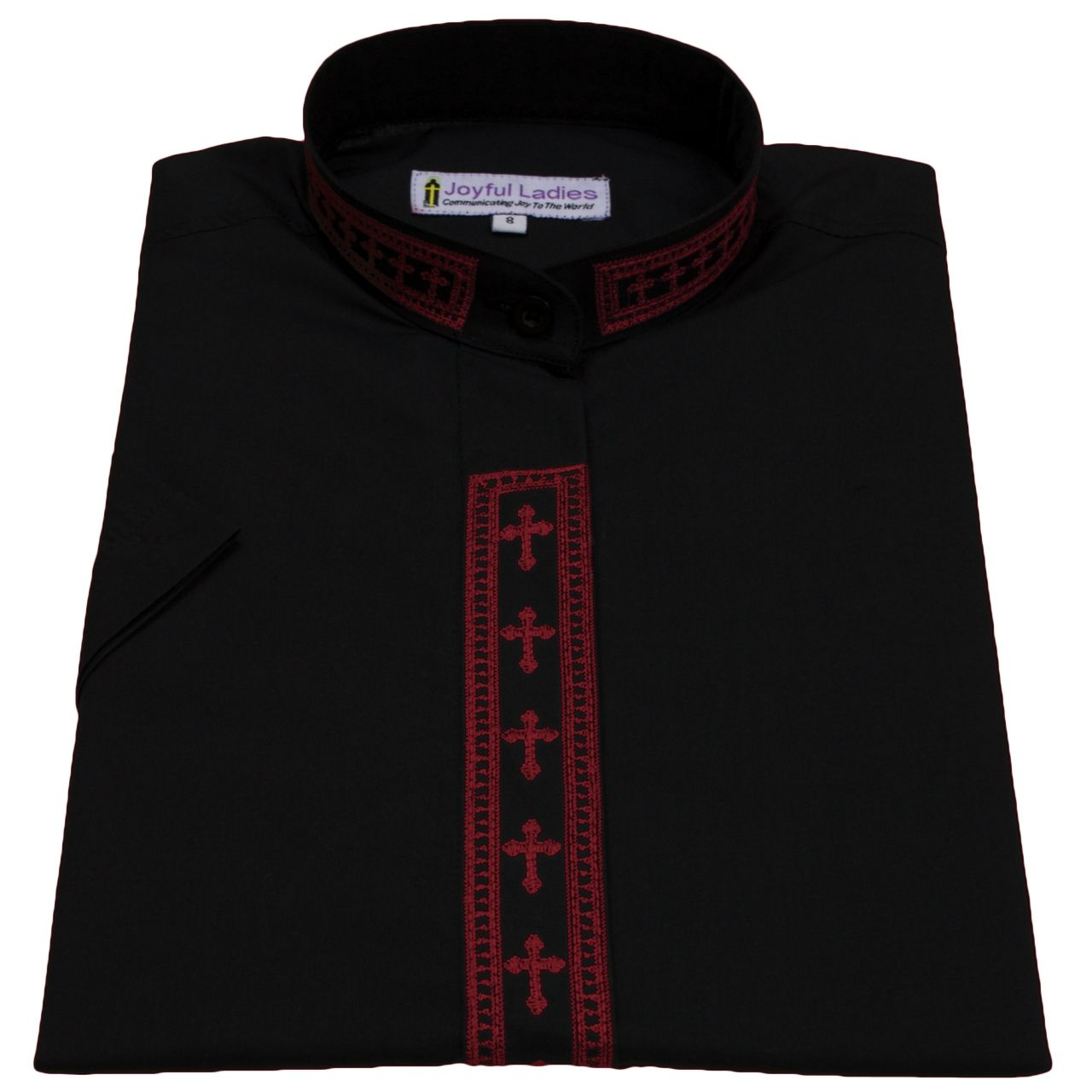 757. Women's Short-Sleeve Clergy Shirt With Fine Embroidery - Black/Red