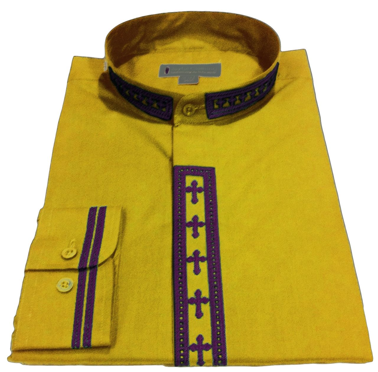 320. Men's Long-Sleeve Clergy Shirt With Fine Embroidery - Gold/Purple