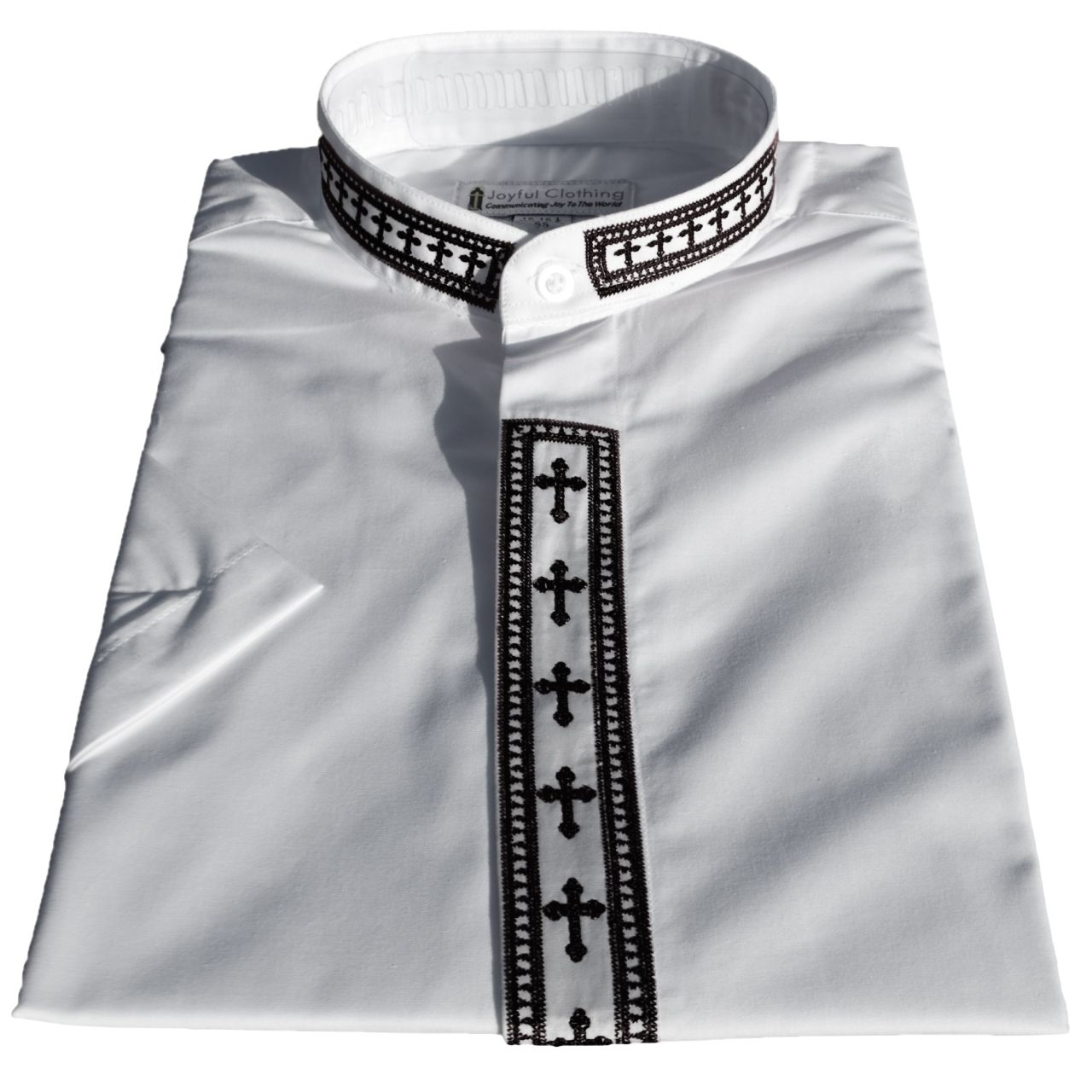 766. Women's Short-Sleeve Clergy Shirt With Fine Embroidery - White/Black