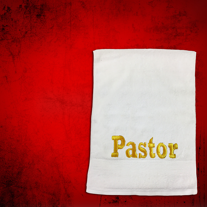 Shoulder Clergy Towel (Mini) in White with Gold Pastor