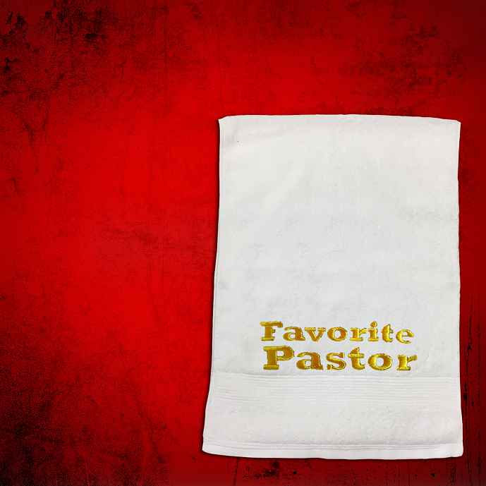 Shoulder Clergy Towel (Mini) in White with Gold Favorite Pastor