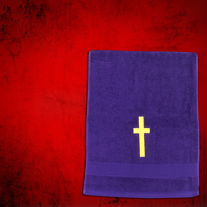 Shoulder Clergy Towel (Mini) in Purple with Gold Cross