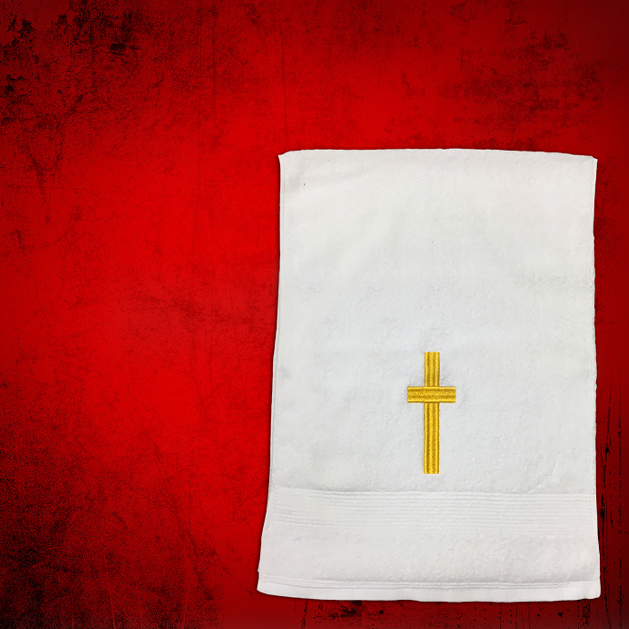 Shoulder Clergy Towel (Mini) in White with Gold Cross
