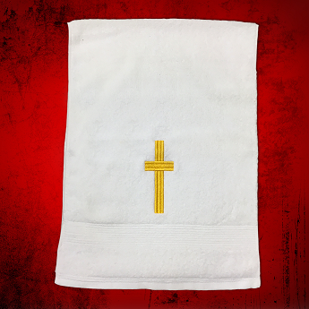 Clergy Towel in White with Gold