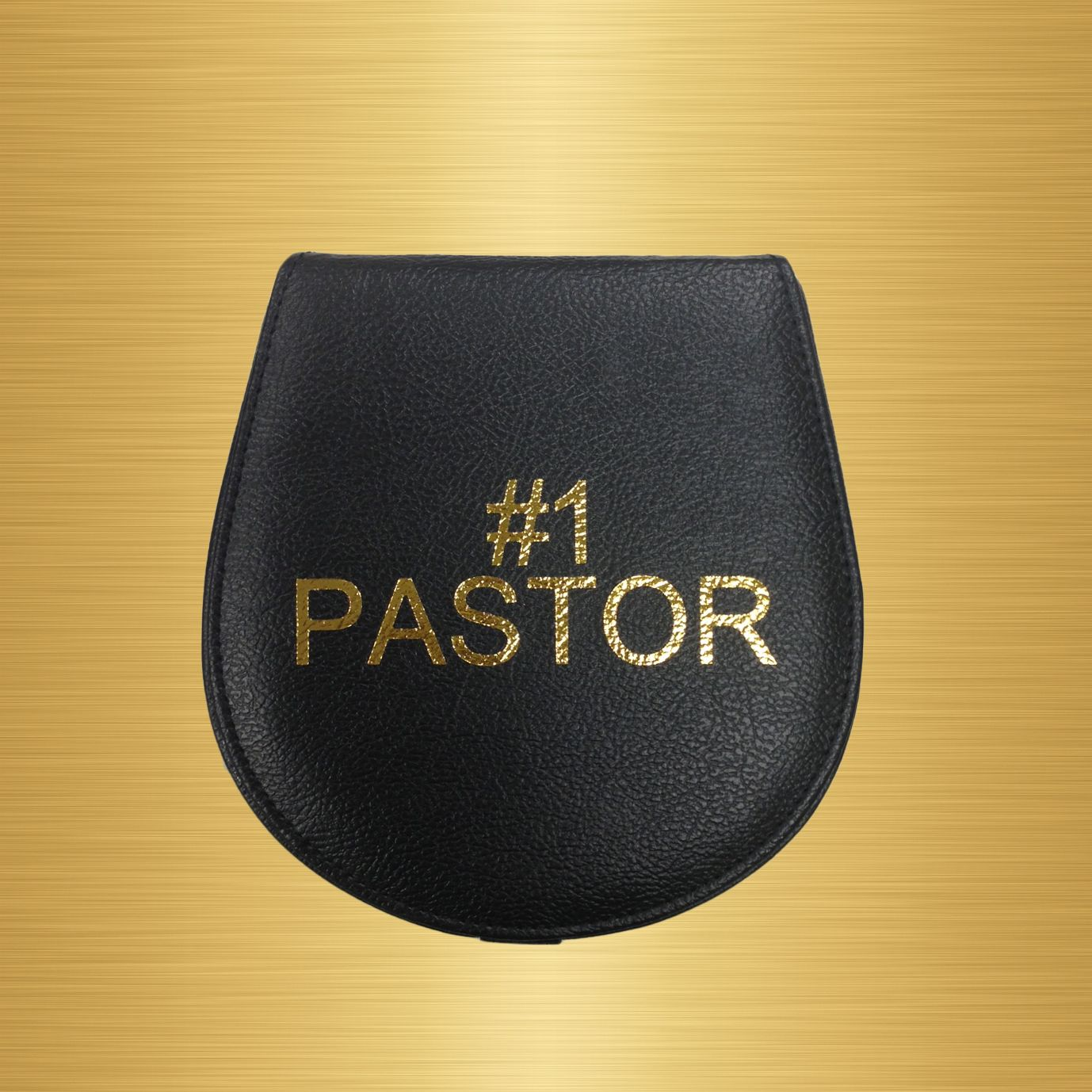 Black Clergy Collar Case With Gold Pastor