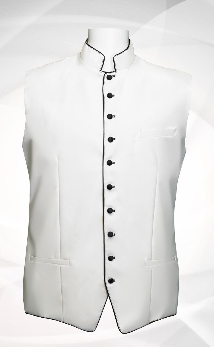 Men's Classic Clergy Vest - White/Black