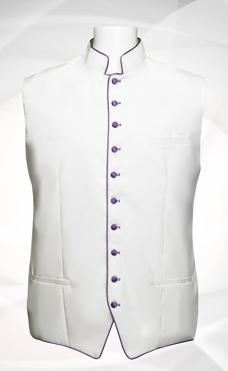 Men's Classic Clergy Vest - White/Purple