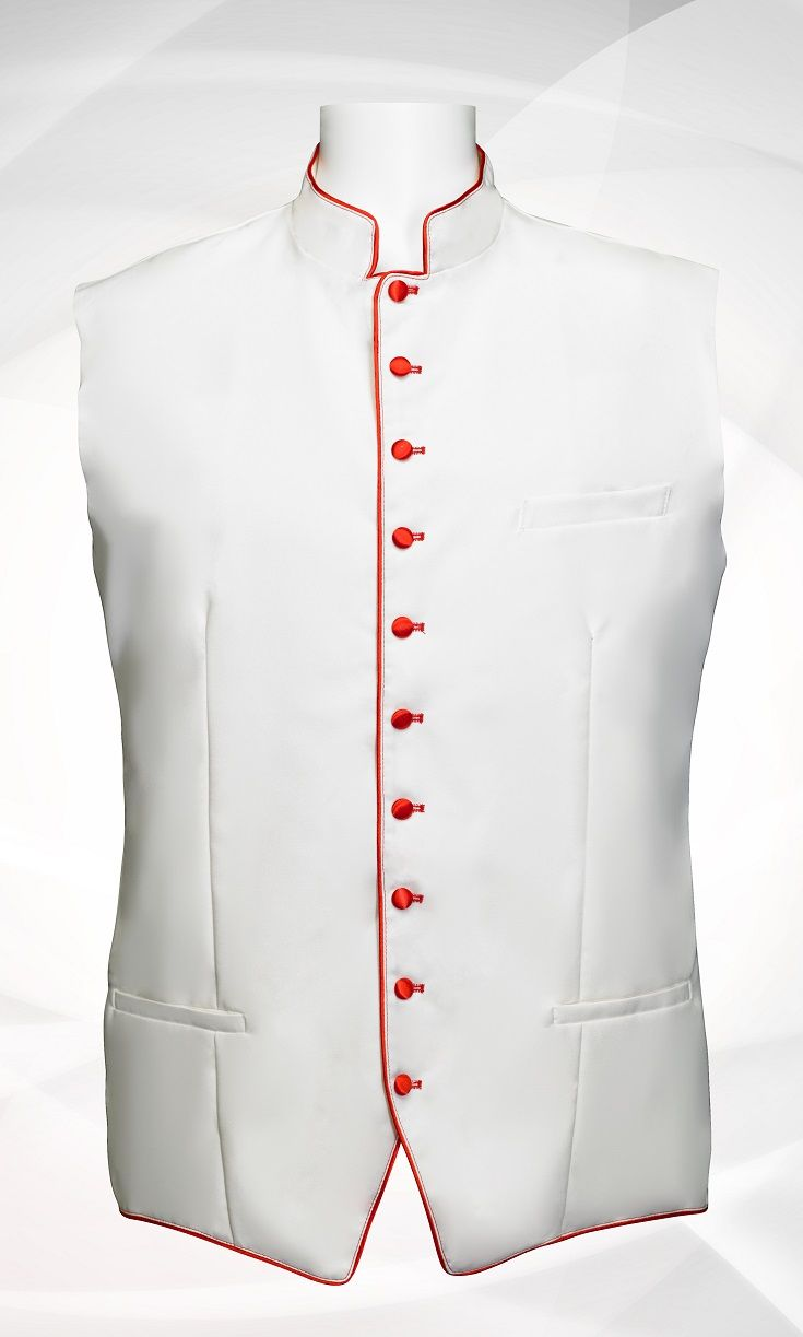 Men's Classic Clergy Vest - White/Red