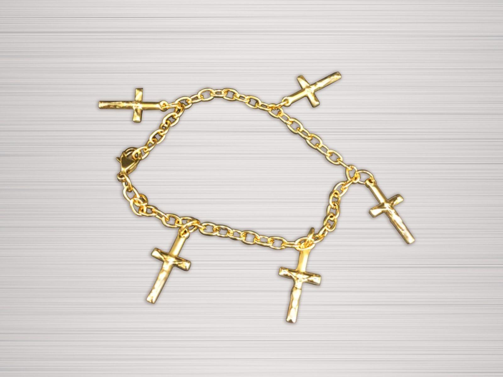Women's Cross Chain Bracelet Gold Crosses